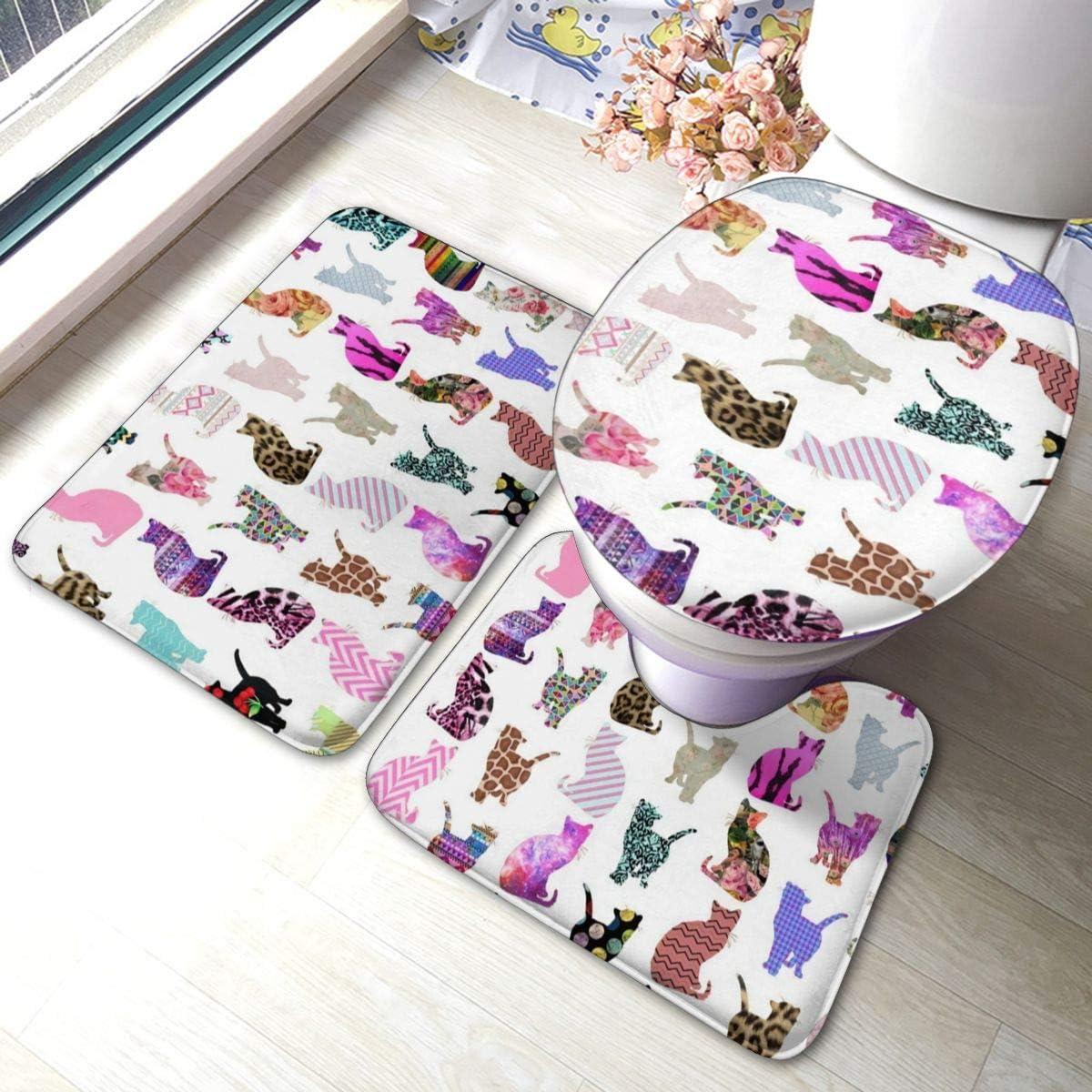 Uliykon Motivo: Teschio Gatto e Luna Set di 3 tappetini da Bagno in Memory Foam