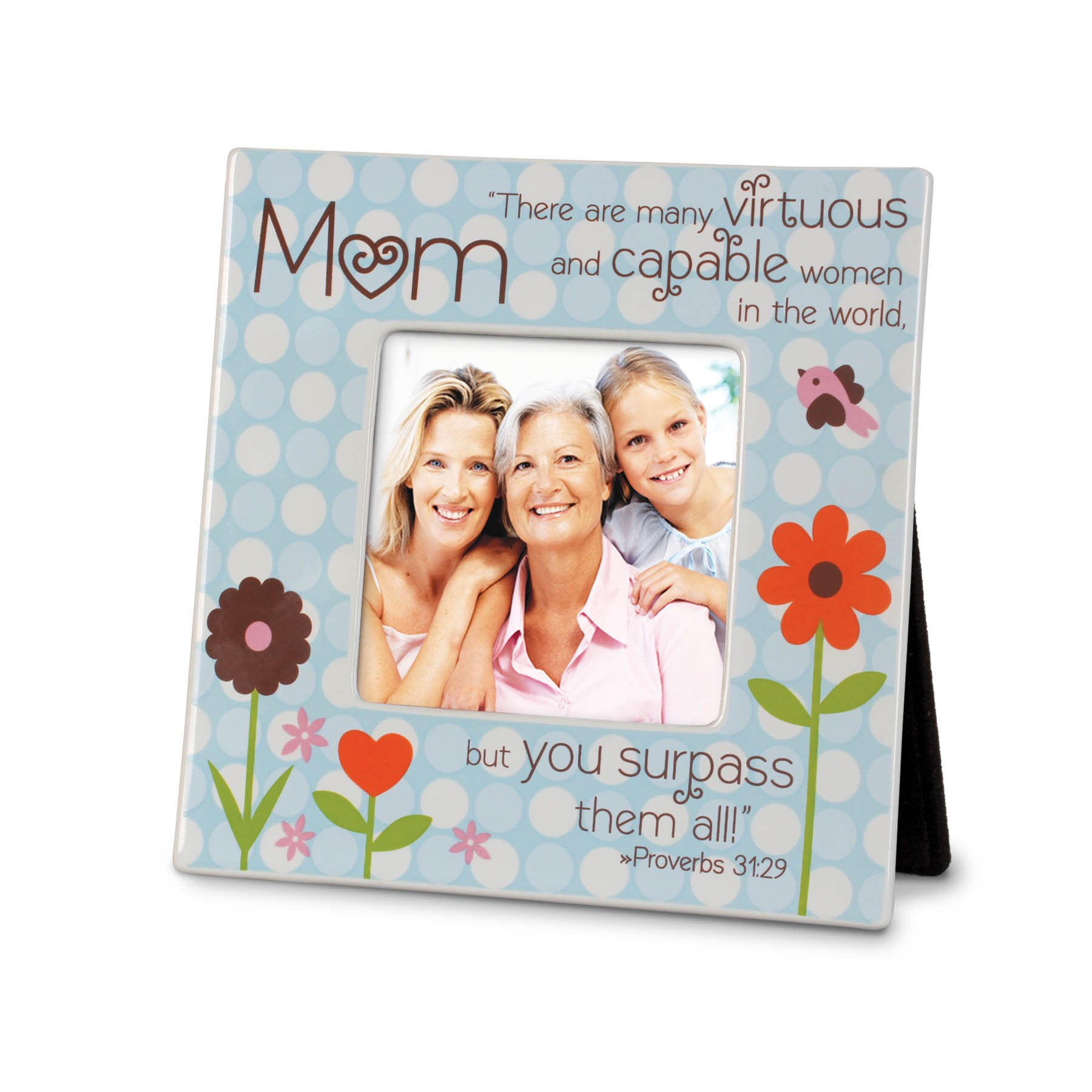 Lighthouse Christian Products Mom Dots Ceramic Frame, 4 x 4''