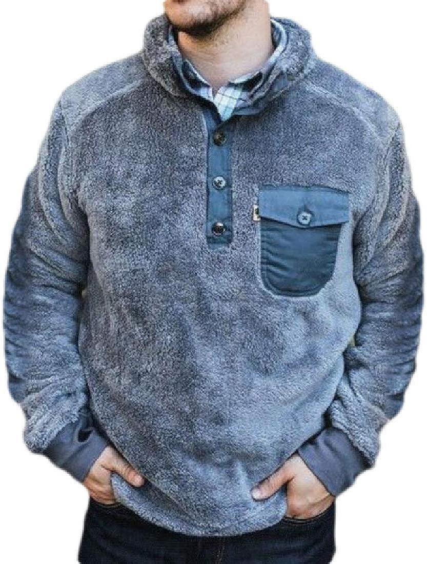 Jotebriyo Men Stand Collar Fleece Basic Button Down Pockets Pullover Sweatshirt