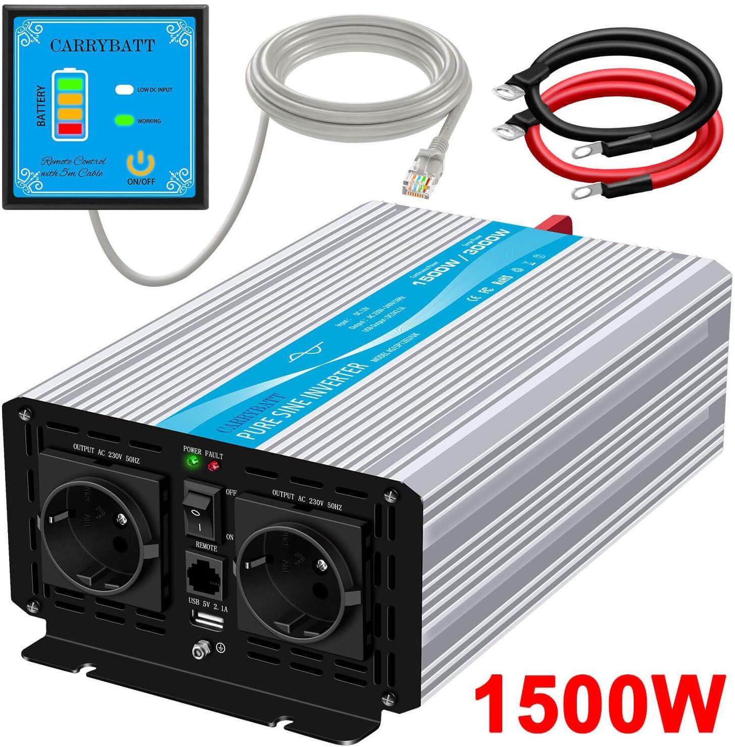 CARRYBATT Inversor de Corriente de Onda sinusoidal Pura 1500W/3000W Convertidor DC 12V a AC 220V 230V con Mando a Distancia & Salidas de AC duales y Puerto USB