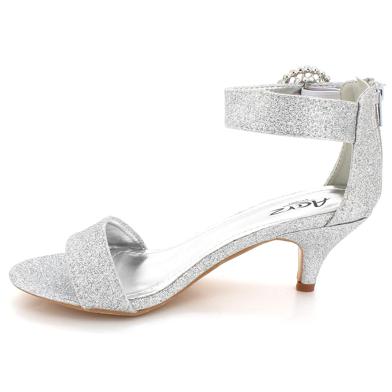 Femmes Dames Strass Boucle la Fixation Soir Mariage Fête De mariée Bal de Prom Talon mi des Sandales des Chaussures Taille Argent