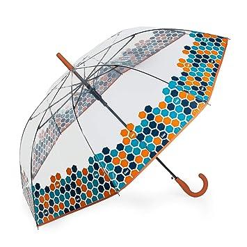Lois - Paraguas Clásico Estampado Transparente. Apertura Automática. 8 Varillas. Anti Viento.