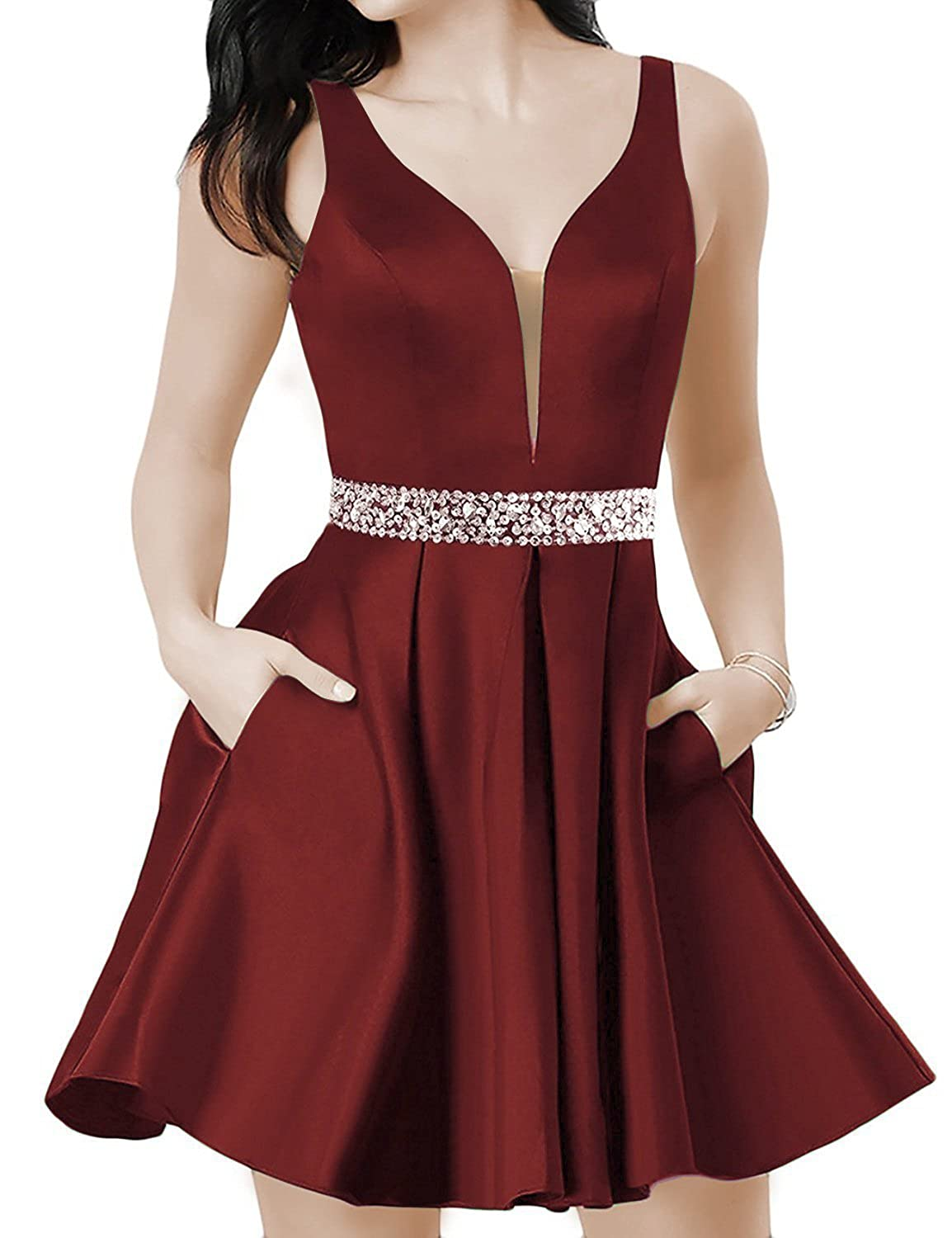 Burgundya LUBridal Women's Sexy V Neck Short Satin Prom Dresses with Pockets 2018 Backless Evening Party Gown
