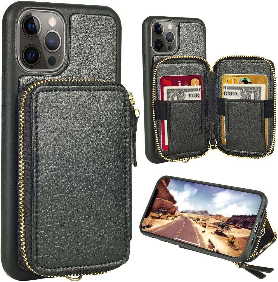 ZVE Wallet Case Compatible with iPhone 12 Pro Max 5G, Wallet Case with Card Holder Slot Wrist Strap Handbag Protective Leather Cover Design for 2020 iPhone 12 Pro Max, 6.7 inch - Black