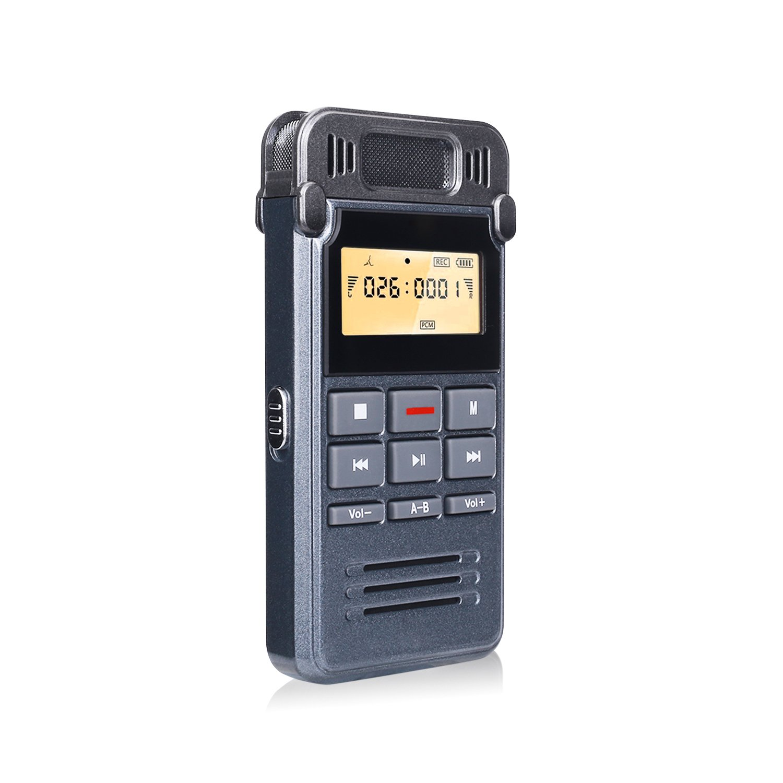 Registratore Vocale 8G, COOAU Mini Registratore Vocale Portatile,Microfono Stereo (HQ), USB Ricaricabile, Riproduzione MP3, Attivazione Vocale, Eliminazione Rumore, Ripetizione A-B per Lezioni, Conferenze, Riunioni o Interviste - Grigio