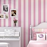 Smile DIY 壁紙シール 簡単 貼付シール壁紙 ストライプ柄 不織布紙 壁紙 はがせる シンプルな現代風 ベッドルーム リビングルームの背景 53cmx5m (ローズレッド)