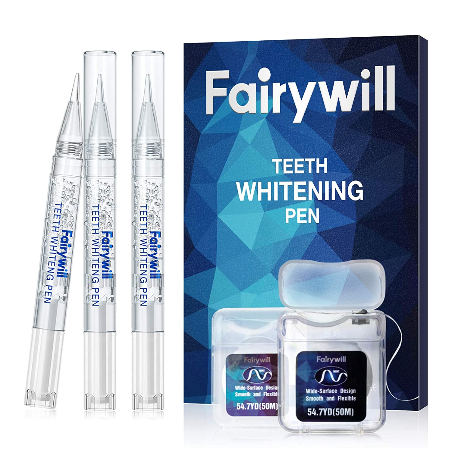 Fairywill Teeth Whitening Pen, 3 Pcs, 35 Percent Carbamide Peroxide, Teeth Whitener Pen for Sensitive Teeth, Enamel Safe Teeth Whitening Gel Pen, Pro White Teeth Pen Remove Tough Stains