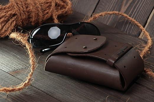 Estuche para lentes artesanal de cuero natural funda para gafas original: Amazon.es: Hogar