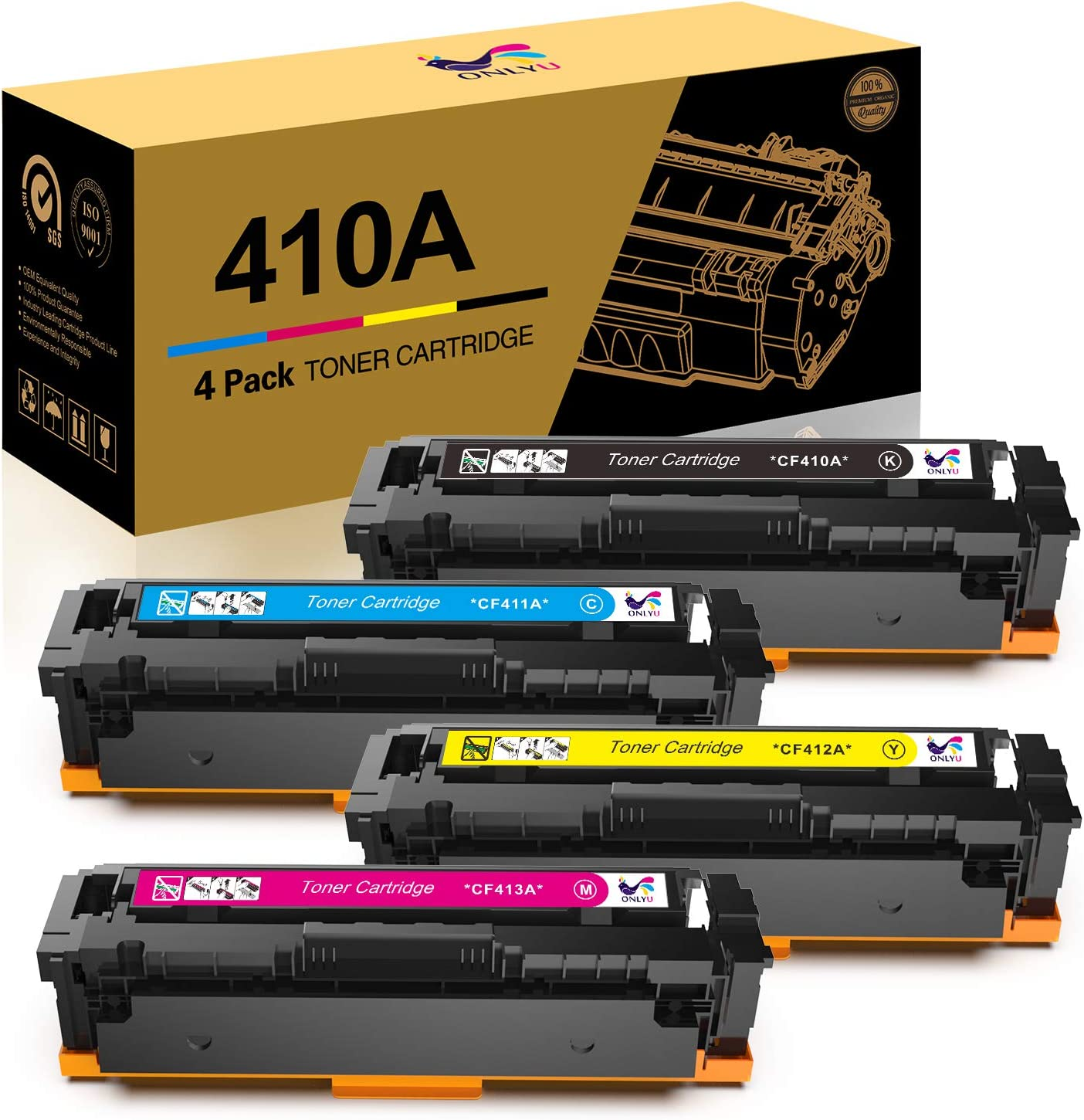 ONLYU Compatible Toner Cartridge Replacement for HP Toner 410A CF410A CF411A CF412A CF413A for HP Laserjet Pro MFP M477fnw M477fdn M452dw M452dn M452nw Printer(Black Cyan Yellow Magenta, 4-Pack)