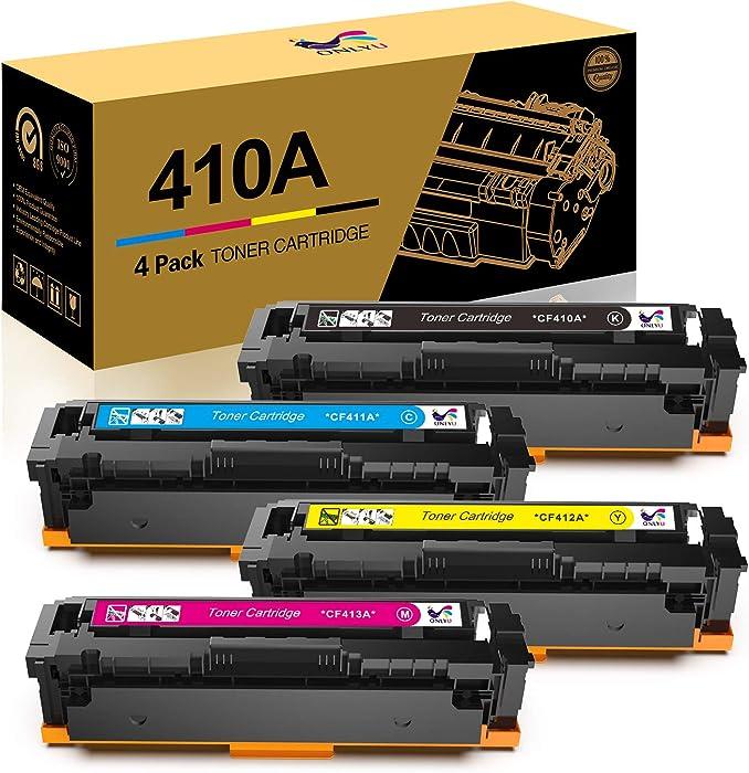 ONLYU Compatible Toner Cartridge Replacement for HP Toner 410A CF410A CF411A CF412A CF413A for HP Laserjet Pro MFP M477fnw M477fdn M452dw M452dn M452nw Printer(Black Cyan Yellow Magenta, 4-Pack)