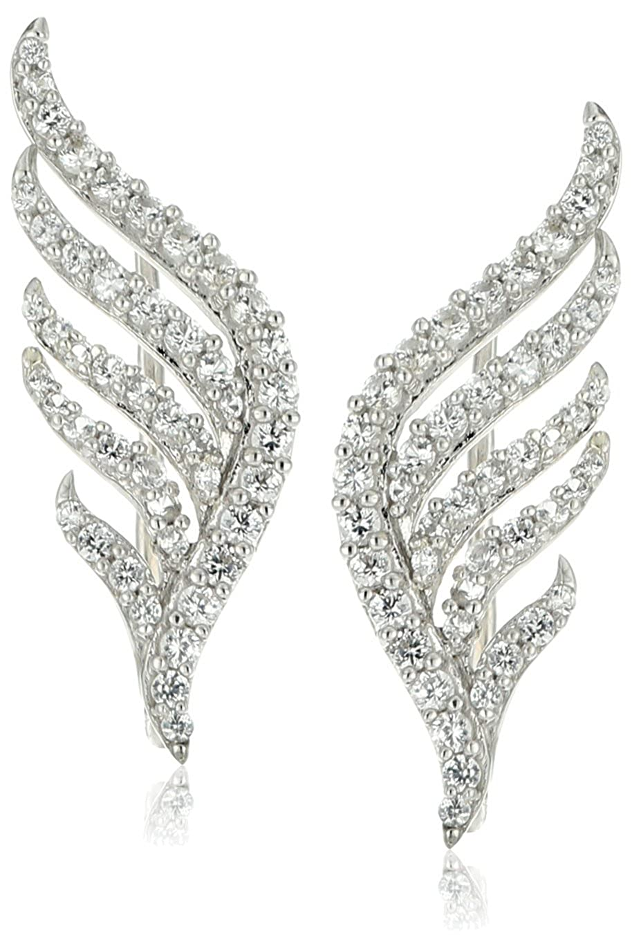 XPY Sterling Silver Created White Sapphire Winged Climber Ear Cuffs Amazon Collection SAX77205CW-AM