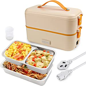 Self Cooking Electric Lunch Box, Toursion Mini Rice Cooker, 2 Layers Steamer Lunch Box for Home Office School Travel Cook Raw Food, 800ML/110V (ONLY THE WALL PLUG) (Yellow)