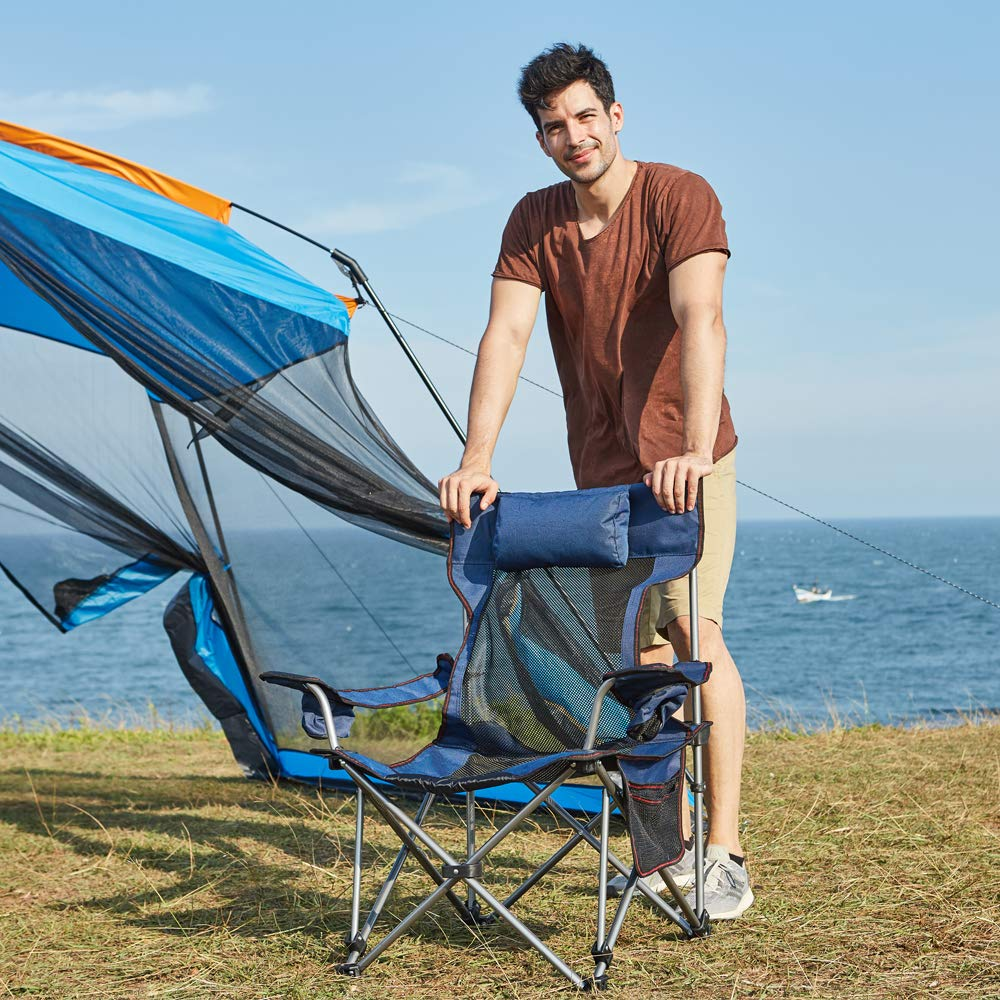 RORAIMA Light Weight Backpacking Reclining/Lounging Camping Folding Chair with Headrest for Outdoor Camping, RV, BBQ, Football Games (Standard Size Blue )