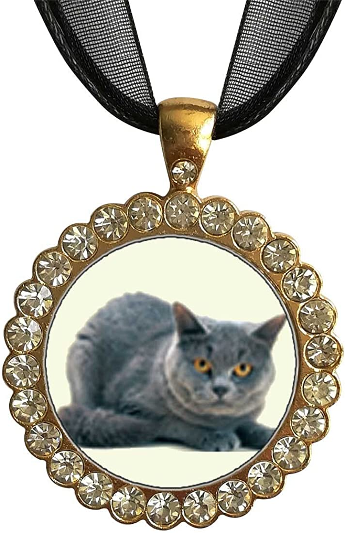 GiftJewelryShop Gold-Plated Grey Cat White Crystal Charm Pendant Necklace