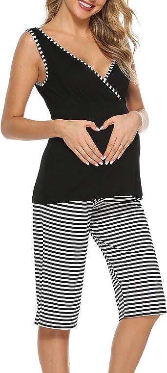 S-XXL Ekouaer Maternity Nursing Pajama Set Striped Pants Short//Long Sleeve V Neck Breastfeeding Sleepwear Hospital Gown