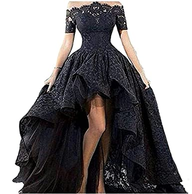 Liaoye Womens Off Shoulder Lace Long Prom Dress High Low Homecoming Dress Black 2