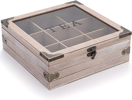 Retro Wooden Tea Storage Box Organizer Container Wood Tea Caddy Container Holder