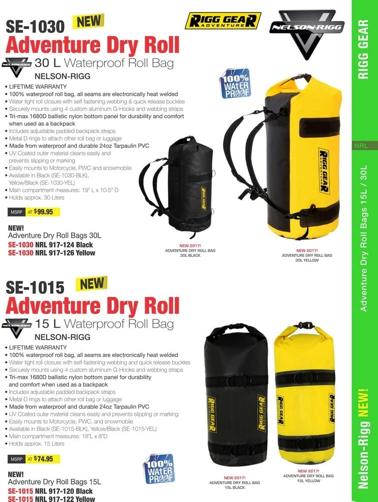 Nelson Rigg SE-1015-BLK  Ridge Roll Dry Bag 15L 100/% Waterproof