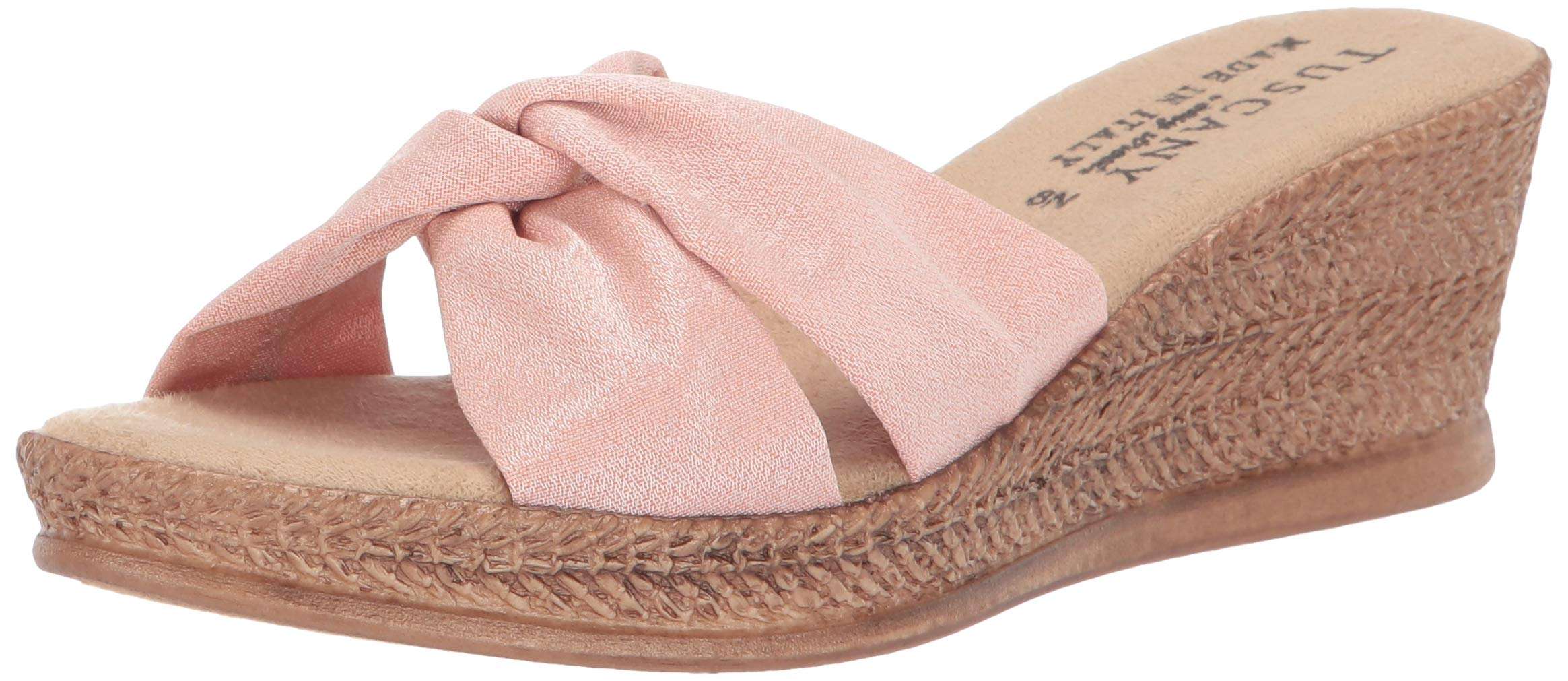 Easy Street Tuscany Women's Dinah Wedge Sandal, Blush, 6 2W US by Easy Street