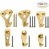 130Pcs Picture Hangers, Micobin Premium Picture Hanging Kit, Heavy Duty Picture Photo Frame Hooks for Wall Mounting with Nails, Picture Wall Hangers Holds 10-100 lbs