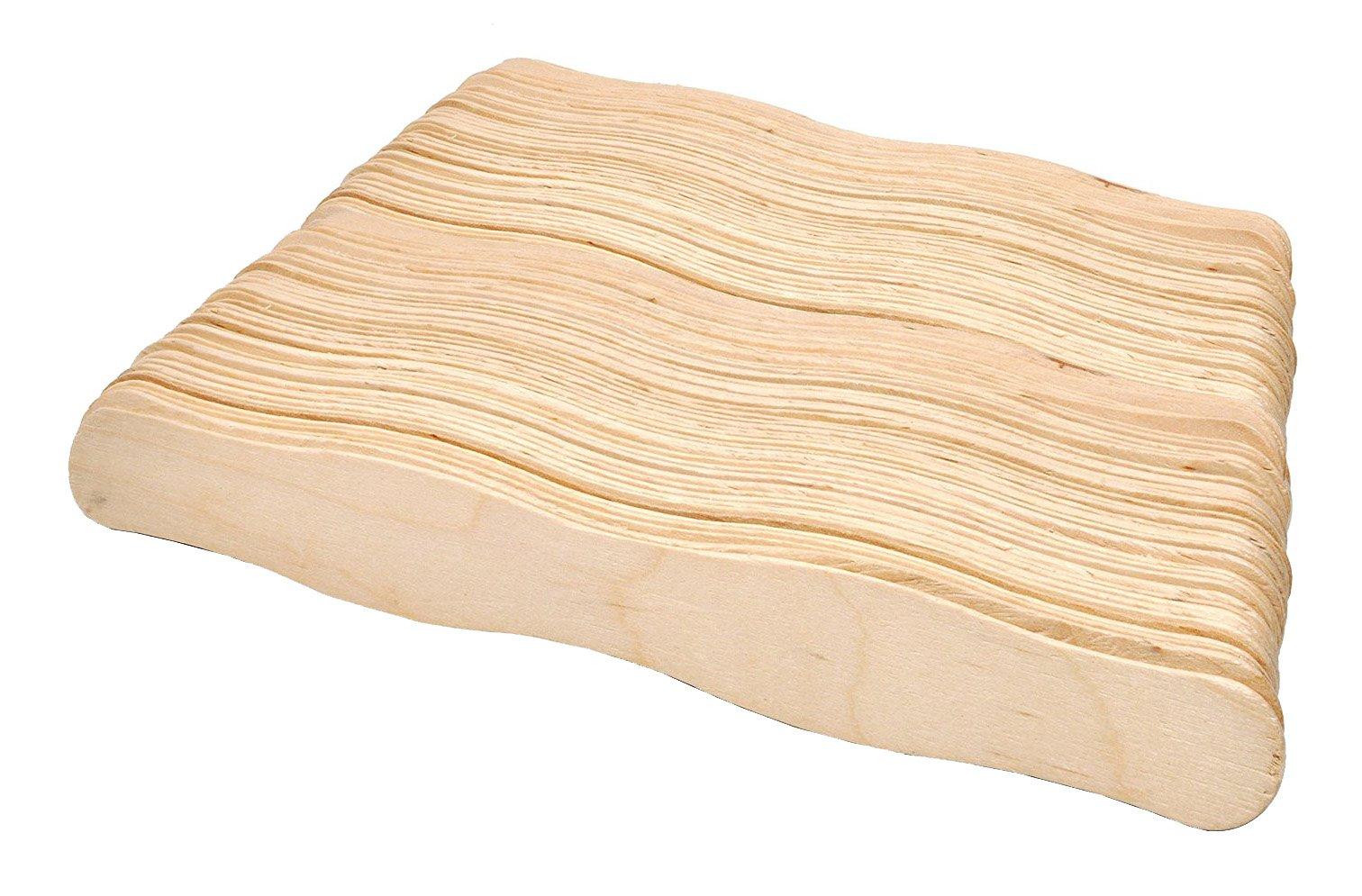 Mandala Crafts 8 Inch Jumbo Wavy Wood Sticks Fan Handles for Projects Auction Bidding Paddles Church Wedding Program (200 Piece Count)