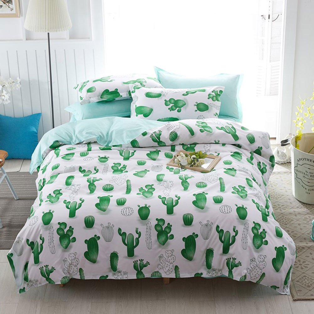 Twin Duvet Cover Set with Zipper Closure Luxury Soft Microfiber 4 Piece£¨1 Duvet Cover + 1 Bed Sheets + 2 Pillow Shams) Children Cute Cactus Green - by Family Decor