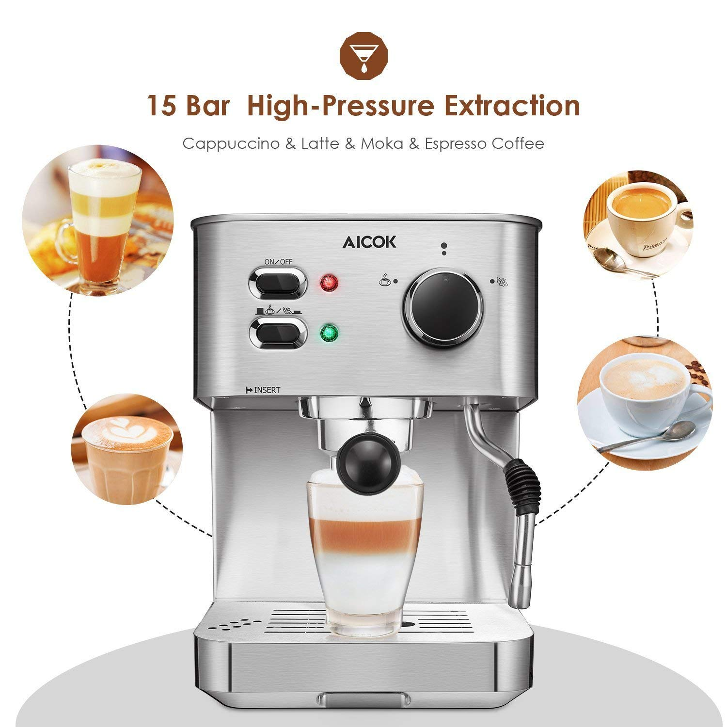 Espresso Machine, Cappuccino Coffee Maker with Milk Steamer Frother, 15 Bar Pump Latte and Moka Machine, Stainless Steel, Warm Top for Cup Placing, 1050W, by AICOK by AICOK (Image #2)