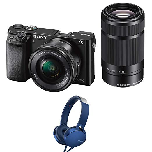 Sony Alpha ILCE 6000Y 24.3 MP Mirrorless Camera with 16 50 mm and 55 210 mm Zoom Lenses with MDR XB550AP Headphones  Black