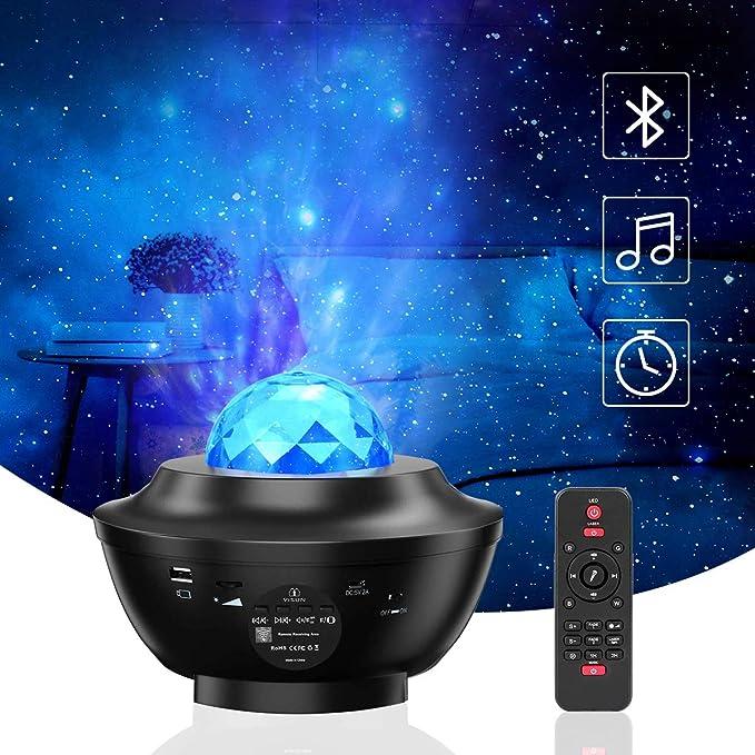 Lámpara Proyector, VOKSUN Bluetooth Proyector de Luz Estelar con Temporizador y Remoto, 360° Rotación 10 Modos Músicas Night Light para BeBés Niños y Adultos Cumpleaños Navidad Año Nuevo