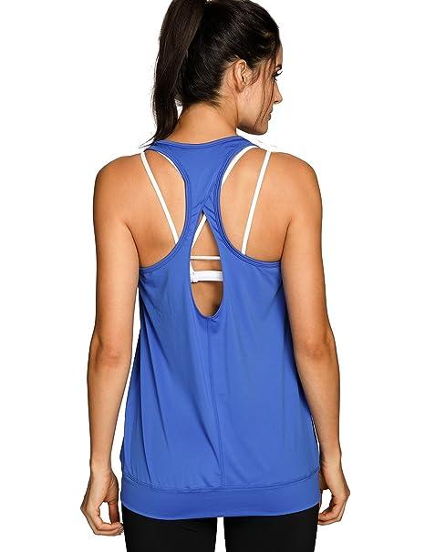 SYROKAN - Camiseta de Fitness Deportiva de Tirantes para Mujer Azul M: Amazon.es: Ropa y accesorios