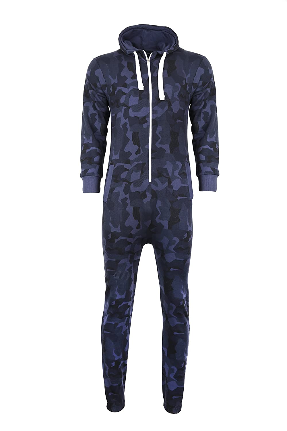 Ak Imports Mens Camouflage One Piece Pajama Hooded Zip Playsuit All in One Piece Jumpsuit