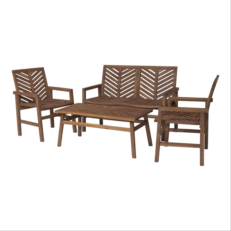 Walker Edison AZW4CGVINDB 4 Person Outdoor Wood Chevron Patio Furniture Set Loveseat Chairs Coffee Table All Weather Backyard Conversation Garden Poolside Balcony, Dark Brown : Garden & Outdoor