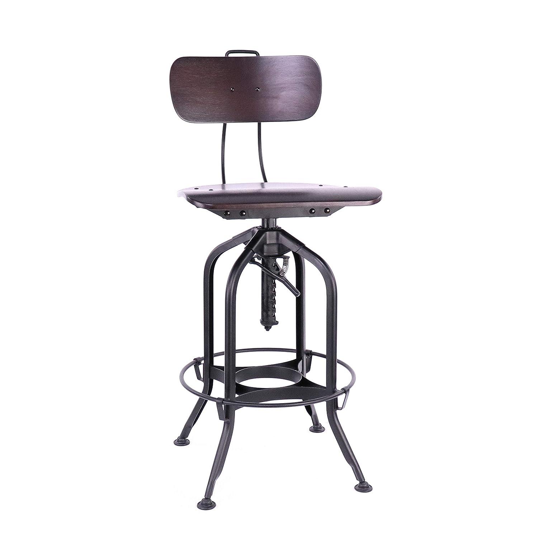 Sensational Design Lab Mn Ls 9199 Walblk Toledo Walnut Black Adjustable High Back Bar Chair 25 29 Inch Black Andrewgaddart Wooden Chair Designs For Living Room Andrewgaddartcom