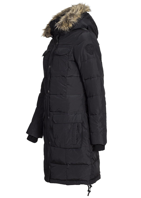 Eight2Nine Damen Daunen Wintermantel, schwarz