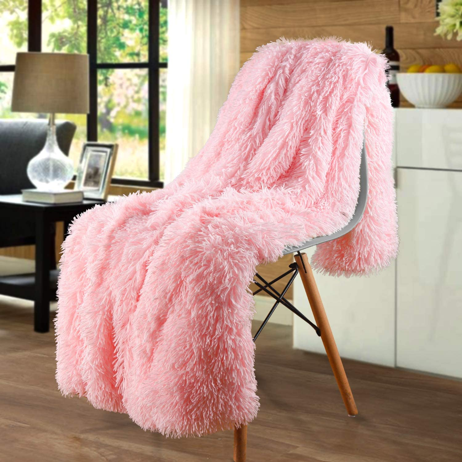 Merit Home Shag with Sherpa Reversible Warm Throw Blanket, Ultra Soft, Cozy Plush Luxury Fuzzy Longfur Blanket, Hypoallergenic and Washable Couch Bed Fluffy Furry Throws Photo Props, 50x60-Light Pink