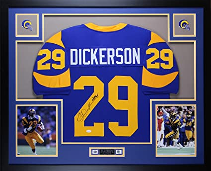 huge discount 18ef4 c34c0 Eric Dickerson Autographed Blue Rams Jersey - Beautifully ...
