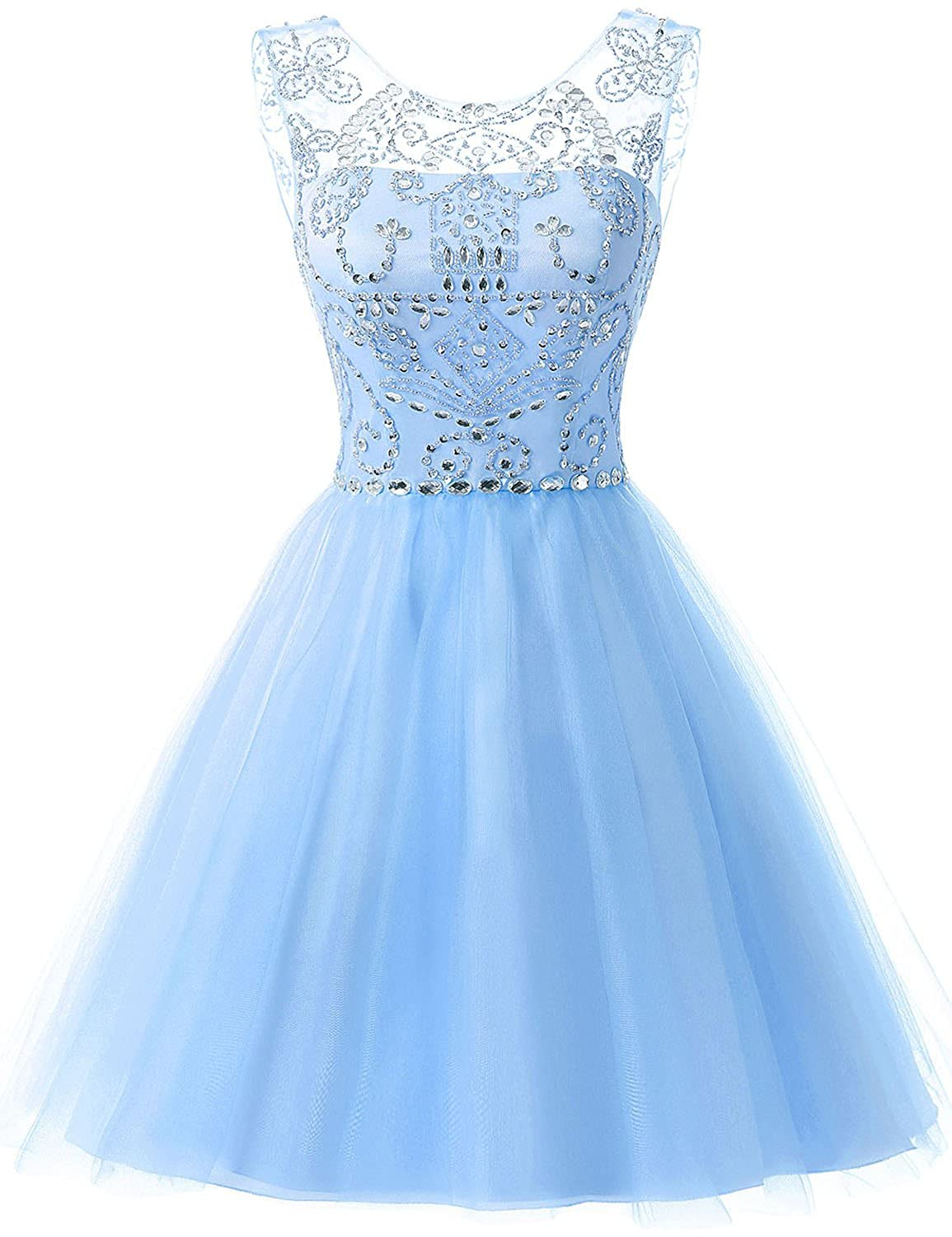 133sky bluee Sarahbridal Women's Short Tulle Beading Homecoming Dresses 2019 Prom Party Gowns