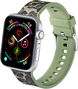 LS Apple Watch Band Compatible with 42/44mm, for Women Men, Soft Silicone Painted Pattern Band Strap for iWatch Apple Watch Series SE 6 5 4 3 2 1(Painted camouflage green, 42mm/44mm)