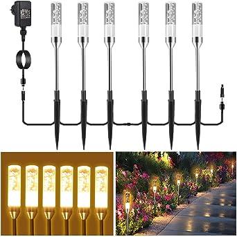 Iluminación de jardín B-right juego de 6 lámparas de jardín con punta de tierra, lámpara de exterior con enchufe, lámpara de jardín con luz de paisaje, con cable, iluminación exterior impermeable.: Amazon.es: