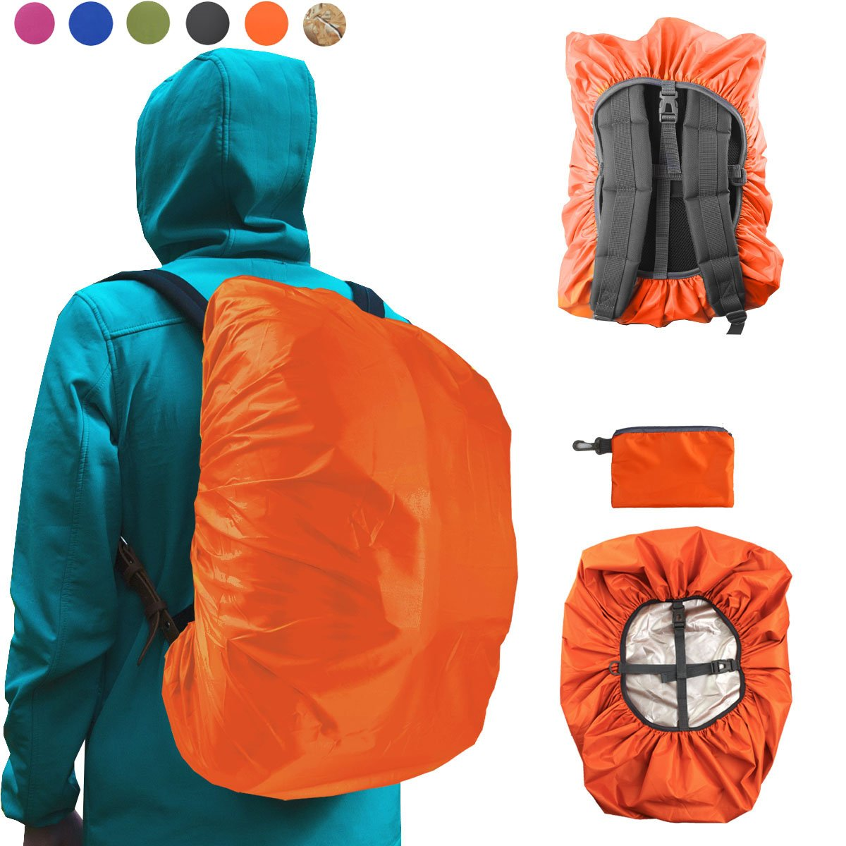 Frelaxy Waterproof Backpack Rain Cover for (15-90L), Upgraded Design & Silver Coated, for Hiking, Camping, Traveling, Outdoor Activities (Orange, M) by Frelaxy