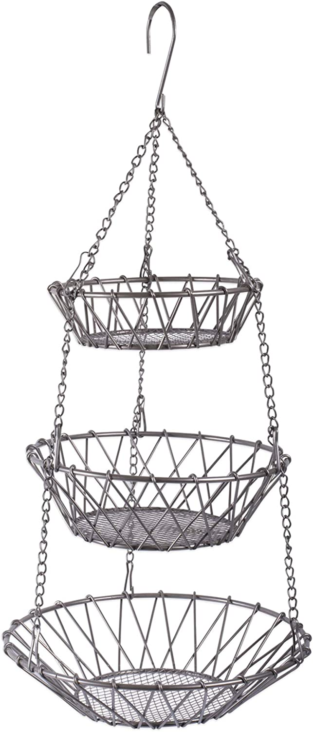 DII 3-Tier Fruit and Vegetable Basket with Sturdy Metal Chain Hanging Hook and Detachable Round Wire Nesting