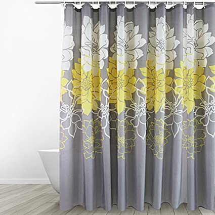 Eforgift Floral Printed Fabric Shower Curtain Polyester Waterproof/ No More  Mildews Bathroom Curtains WithHooks Yellow
