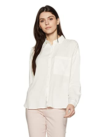 40a249468a Forever 21 Women s Striped Slim Fit Shirt (322257 CREAM S)  Amazon.in   Clothing   Accessories