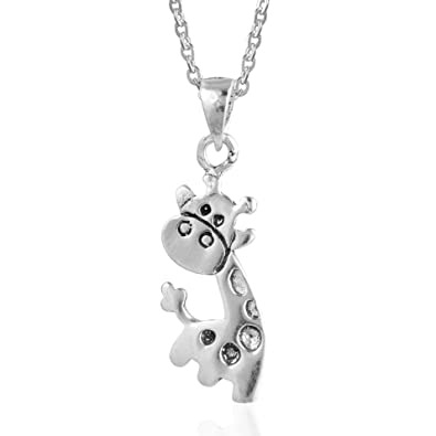 Amazon childrens 925 sterling silver happy giraffe pendant childrens 925 sterling silver happy giraffe pendant necklace 16 inches aloadofball Choice Image