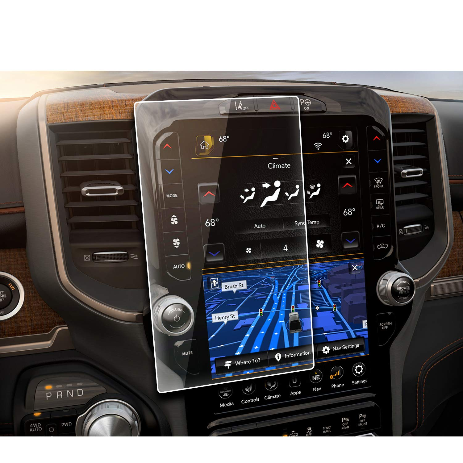 YEE PIN 2019 Ram 1500 Laramie Longhorn/Ram 1500 Limited Uconnect 12-inch Touch Screen Navigation Protector Film …