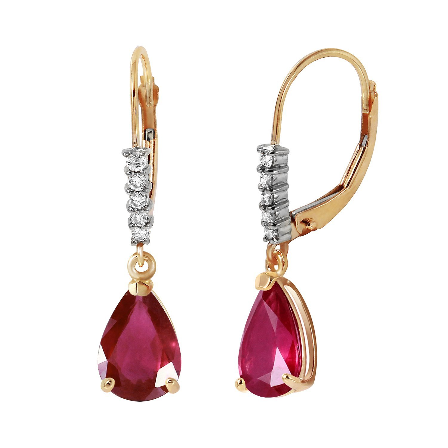 3.15 Carat 14k Solid Gold Leverback Earrings with Natural Diamonds and Rubies