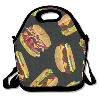 2d8d631609f1 Amazon.com: LHQ's Hamburger Neoprene Lunch Picnic Bag Insulated ...