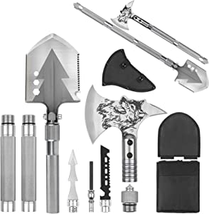 Camping Shovel Axe, Multifunctional Military Folding Survival Shovel, Entrenching Tool Set with Tactical Waist Pack, Camping Axe Military Shovel for Camping, Backpacking, Outdoor,Hiking and More
