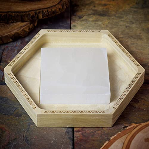 Handmade Crystal Charging Tray made from Natural Poplar Wood with Selenite Square