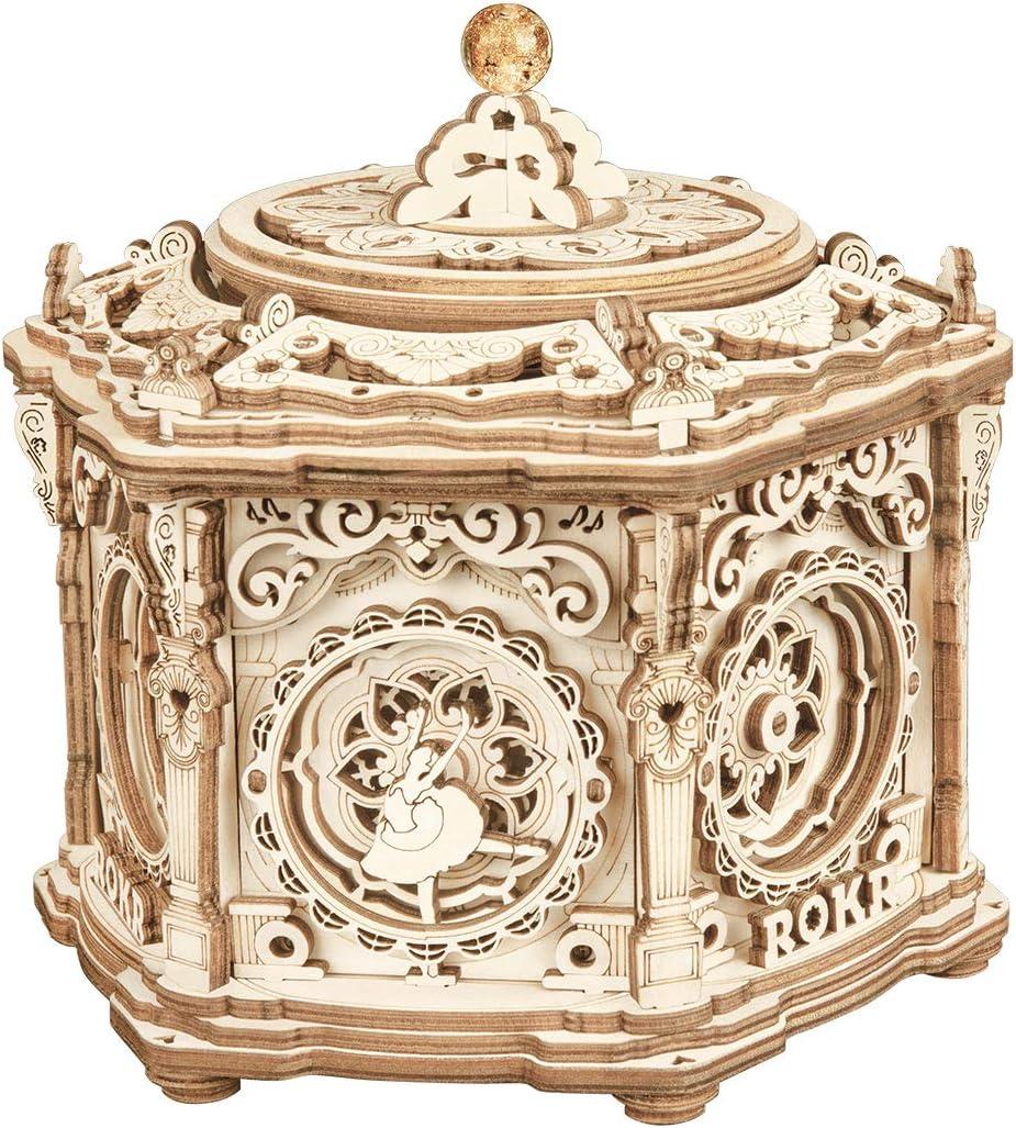 ROKR 3D Wooden Puzzles Model Kits Mechanical Renaissance Inspired Garden Music Box Gift for Teens&Adults